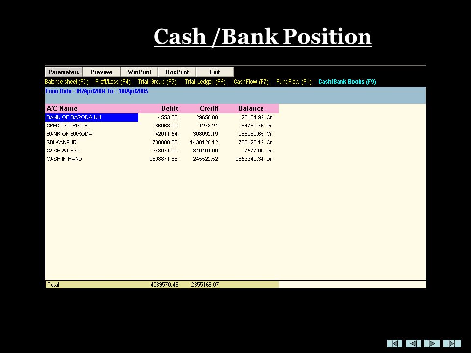 Cash /Bank Position
