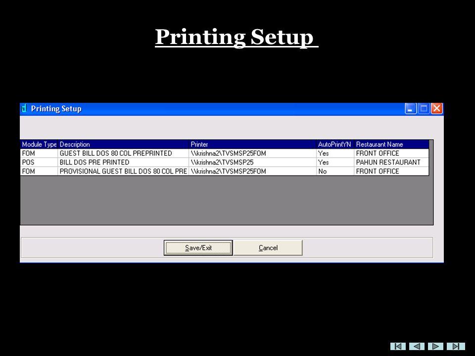 Printing Setup
