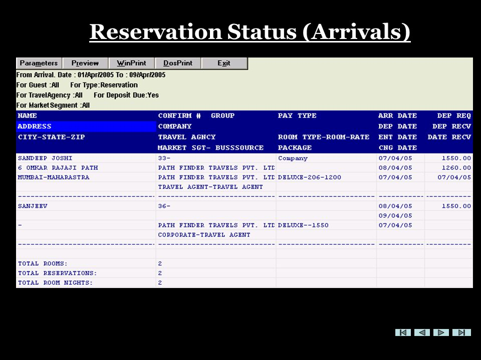 FRONT OFFICE Reservation Status (Arrivals)