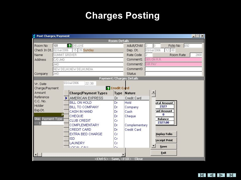 Charges Posting