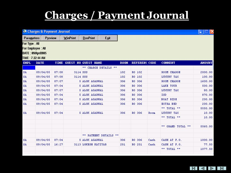Charges / Payment Journal