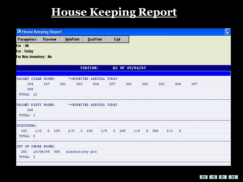 House Keeping Report