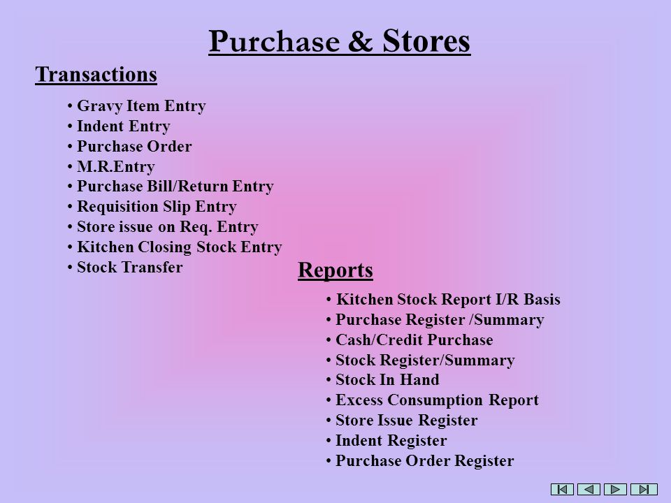 Purchase & Stores Transactions Reports Gravy Item Entry Indent Entry