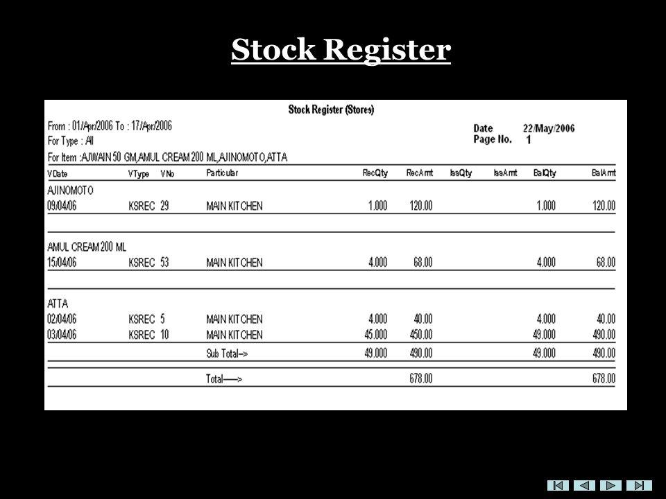 Stock Register
