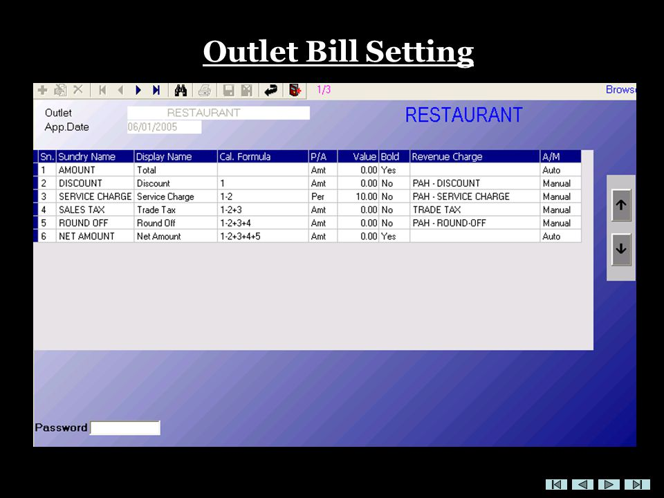 Outlet Bill Setting