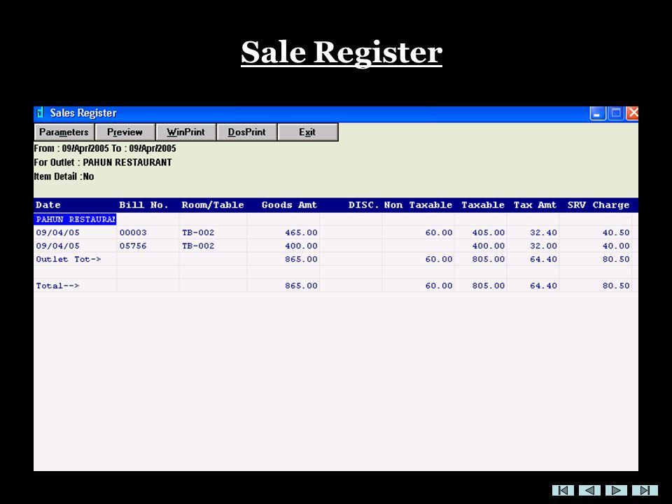 Sale Register
