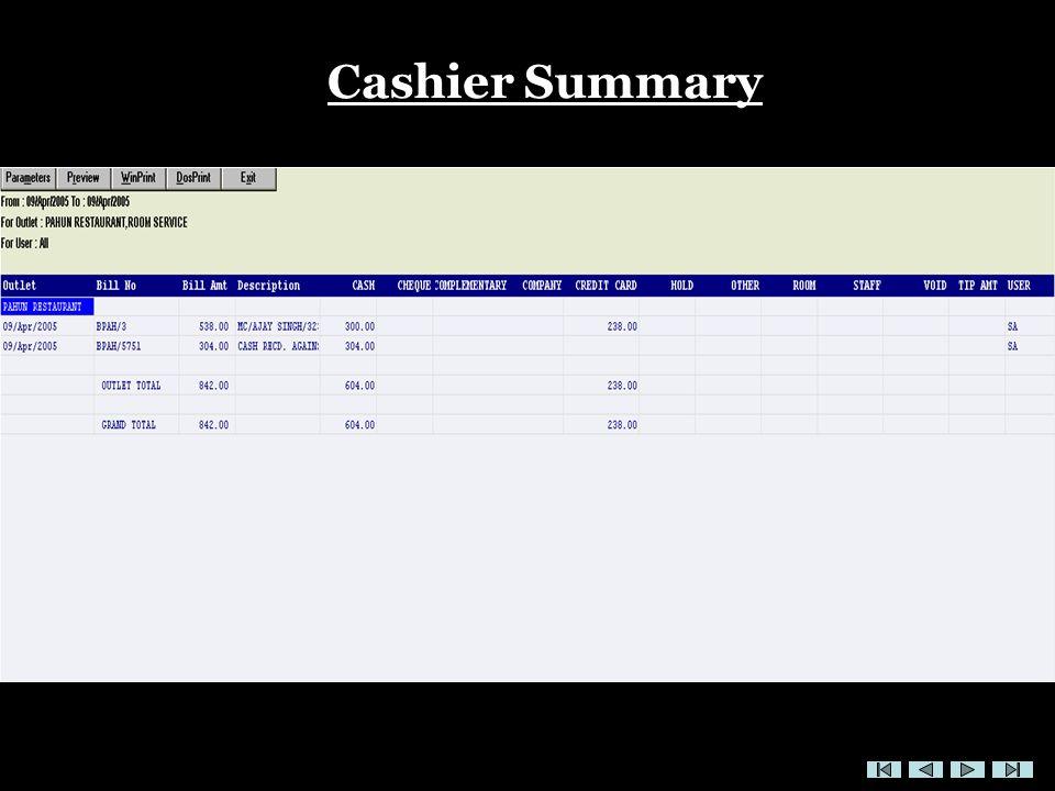 Cashier Summary