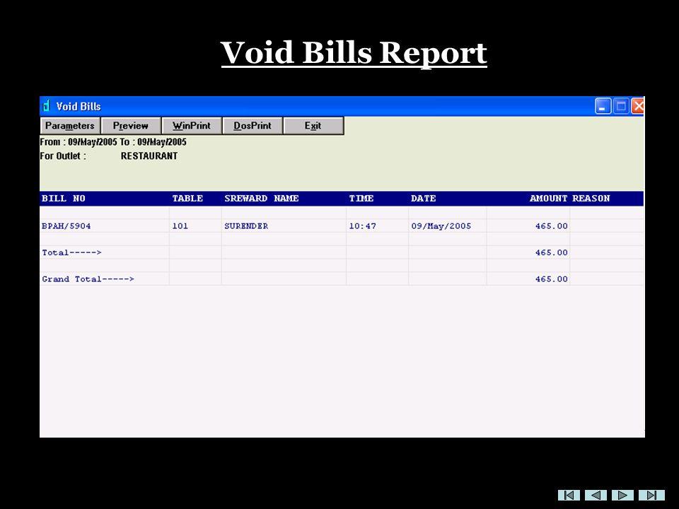 Void Bills Report