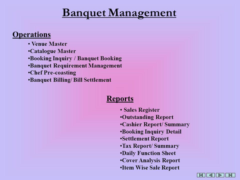 Banquet Management Operations Reports Venue Master Catalogue Master