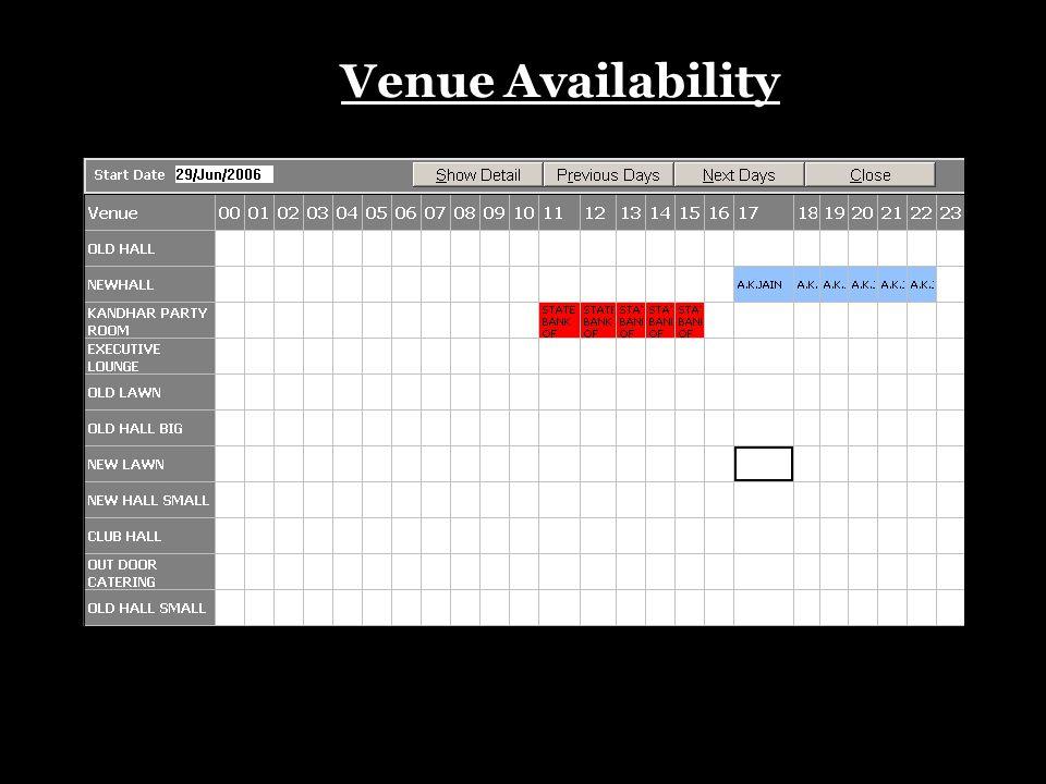 Venue Availability