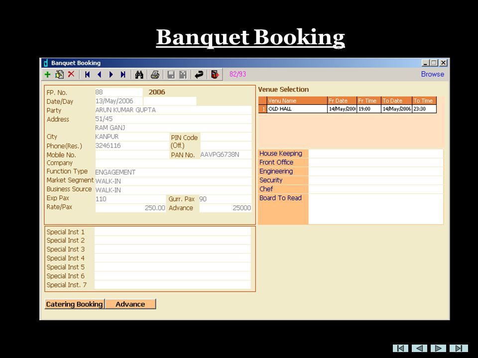 Banquet Booking