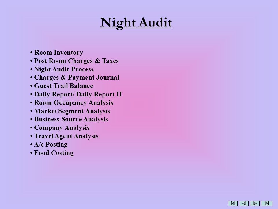 Night Audit Room Inventory Post Room Charges & Taxes