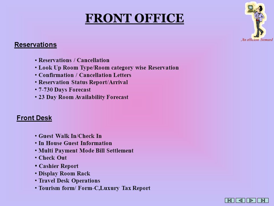 FRONT OFFICE Reservations Front Desk Cashier Report