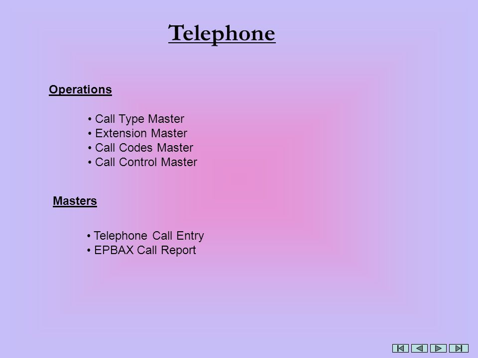 Telephone Operations Call Type Master Extension Master