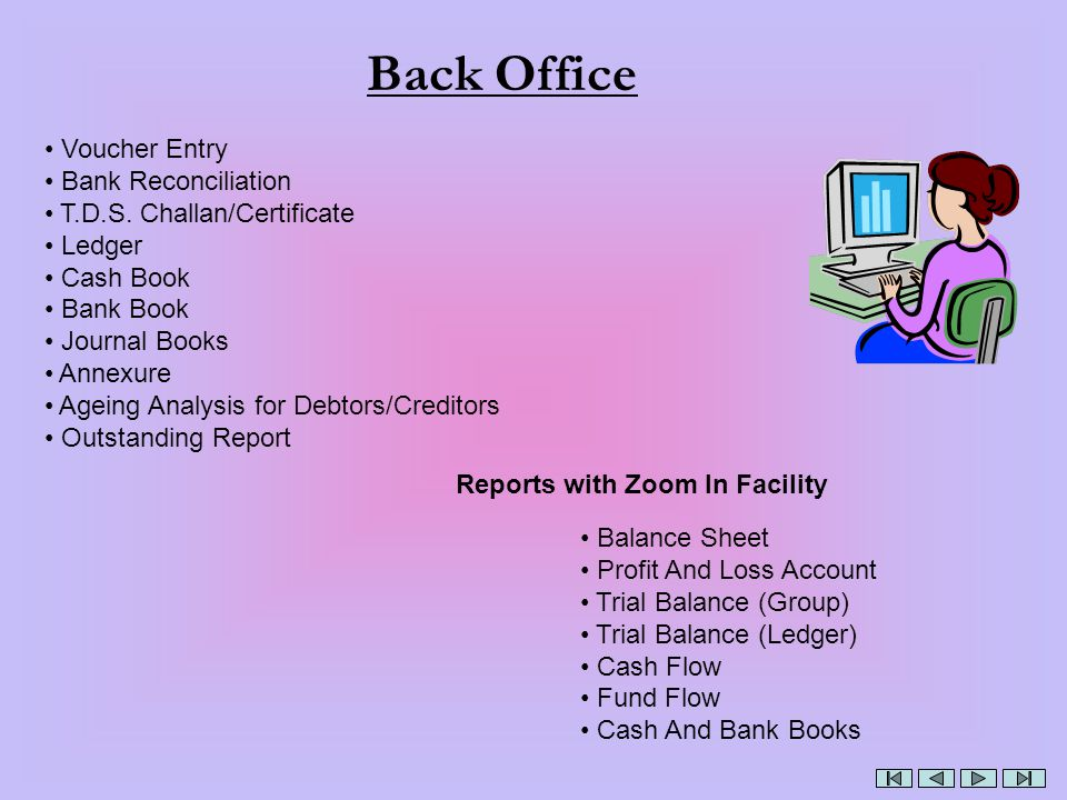 Back Office Voucher Entry Bank Reconciliation