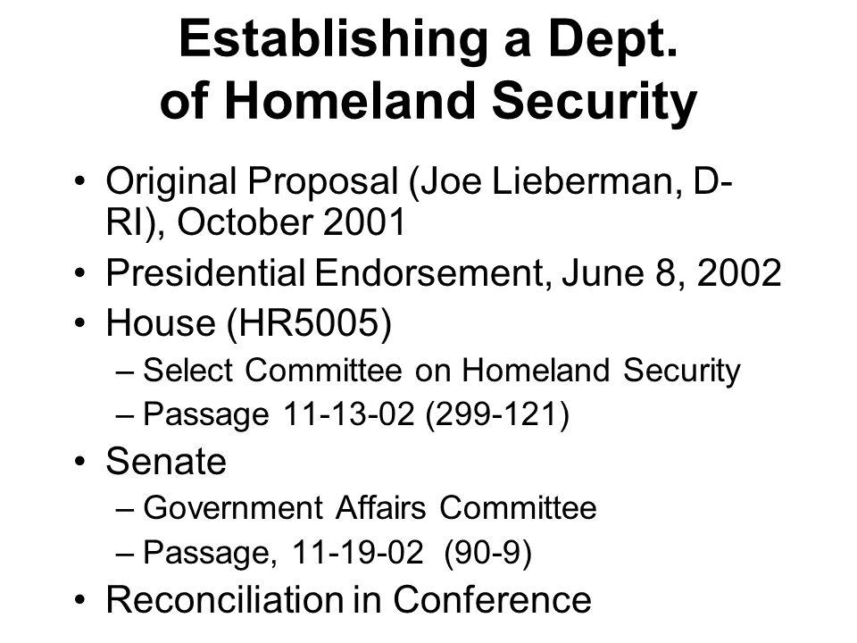Establishing a Dept. of Homeland Security