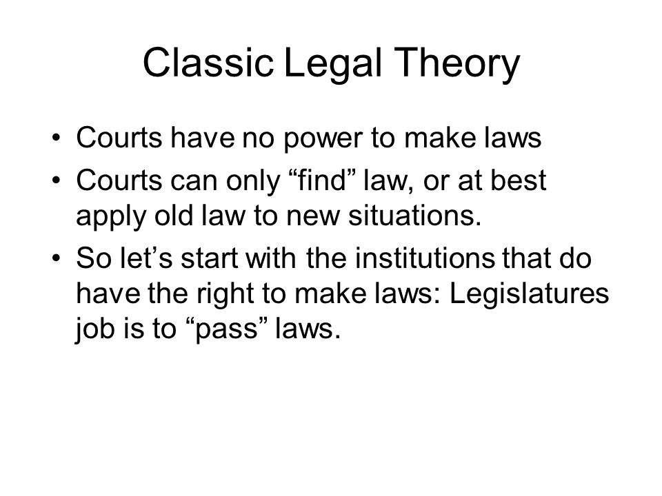Classic Legal Theory Courts have no power to make laws