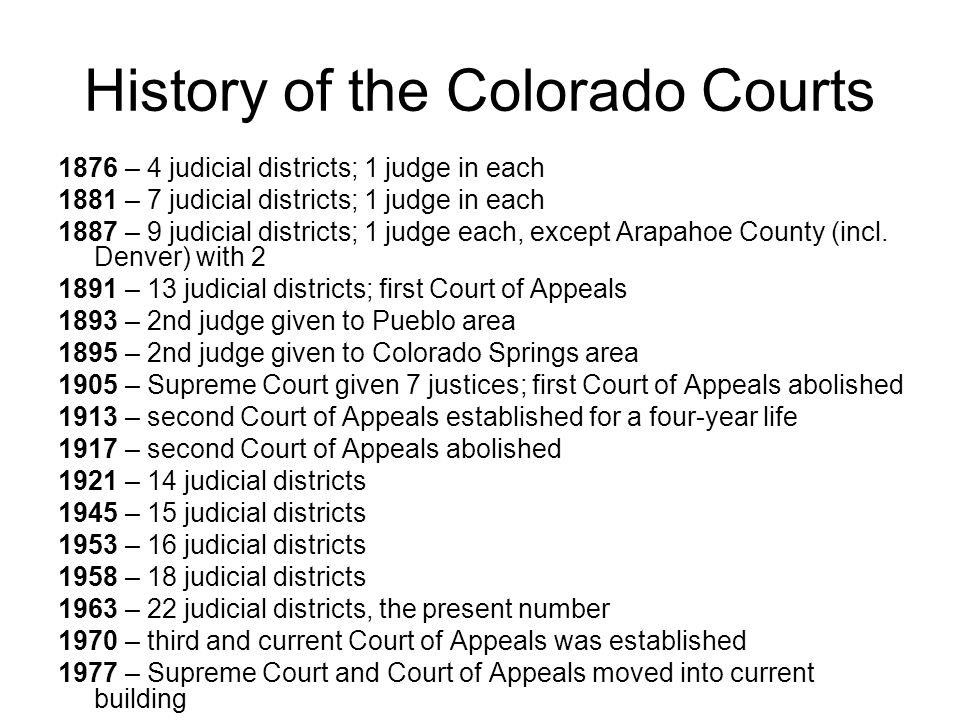 History of the Colorado Courts