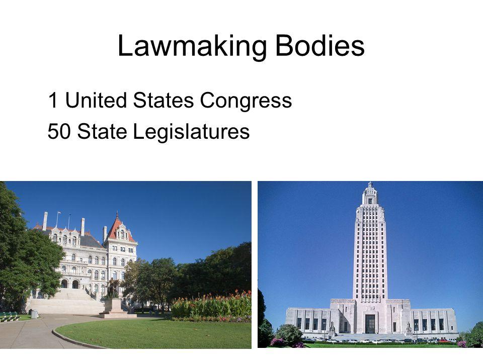 Lawmaking Bodies 1 United States Congress 50 State Legislatures