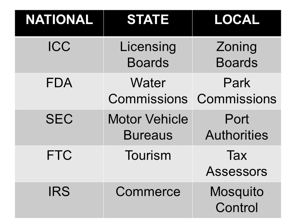 NATIONAL STATE. LOCAL. ICC. Licensing Boards. Zoning Boards. FDA. Water Commissions. Park Commissions.