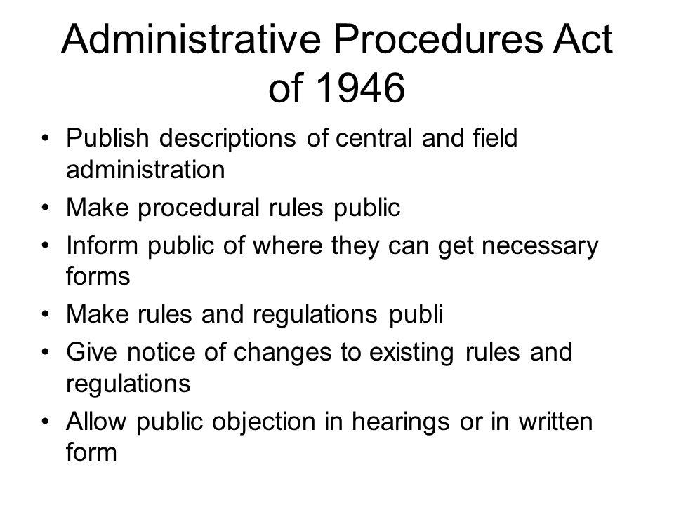 Administrative Procedures Act of 1946