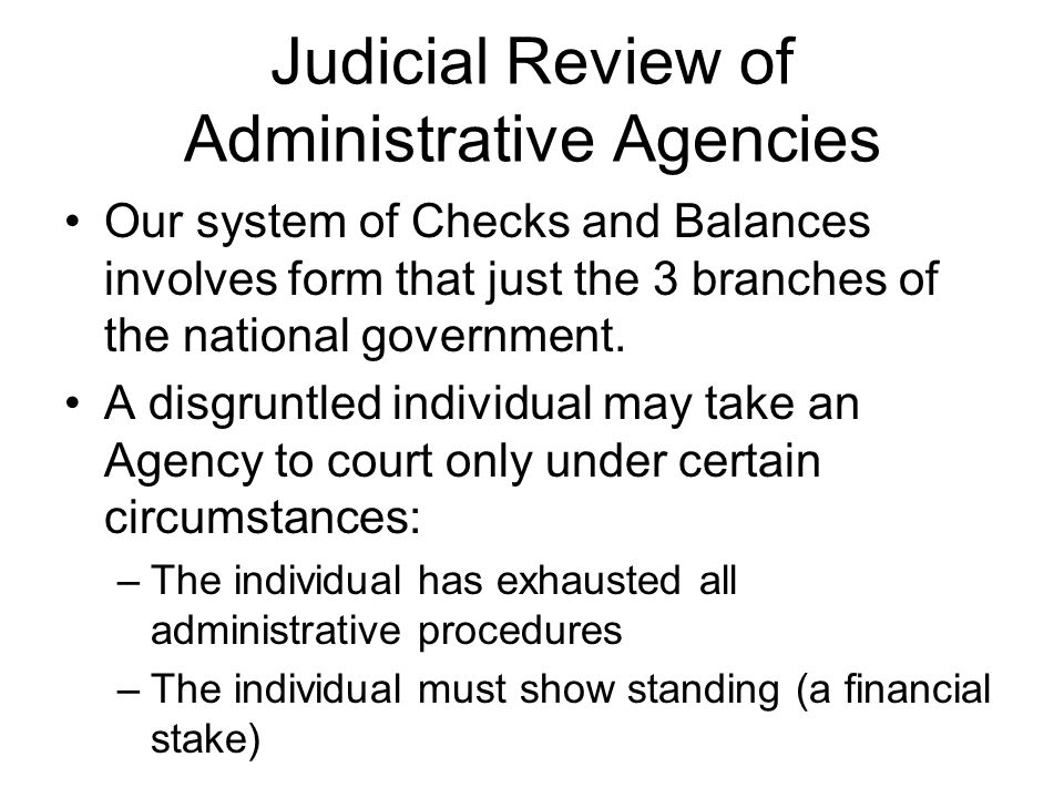 Judicial Review of Administrative Agencies
