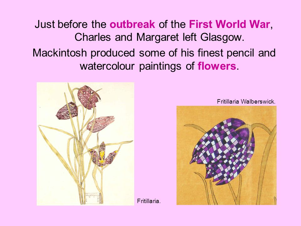Just before the outbreak of the First World War, Charles and Margaret left Glasgow.