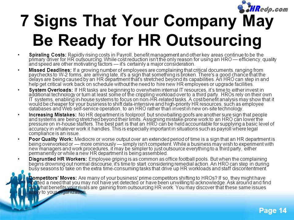 7 Signs That Your Company May Be Ready for HR Outsourcing