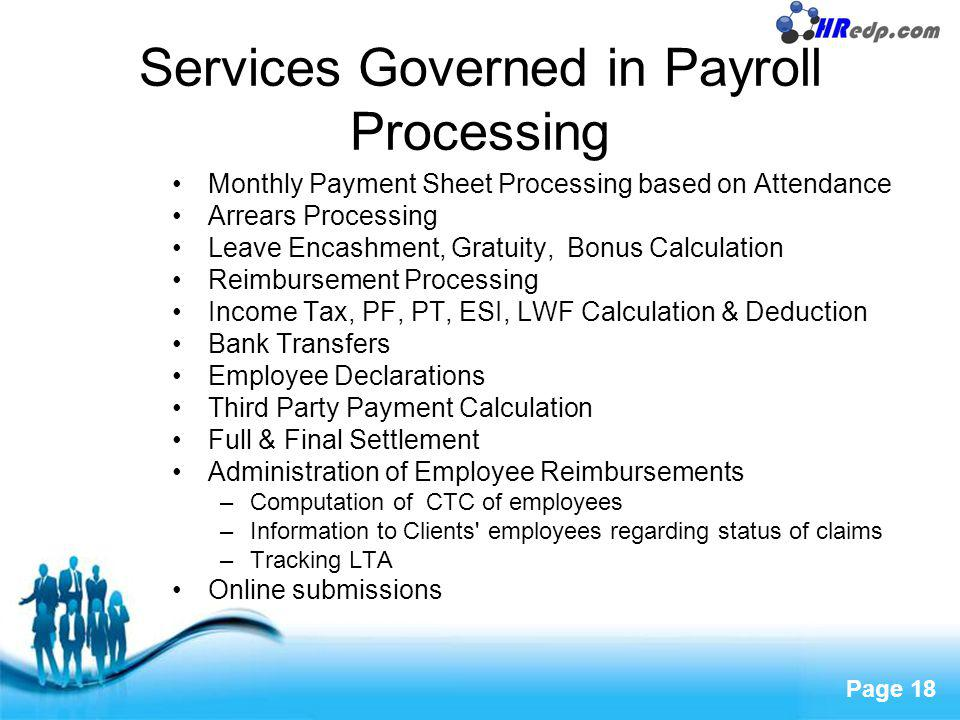 Services Governed in Payroll Processing