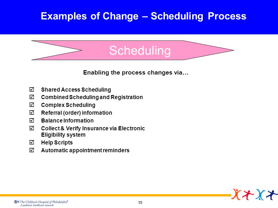 Examples of Change – Scheduling Process