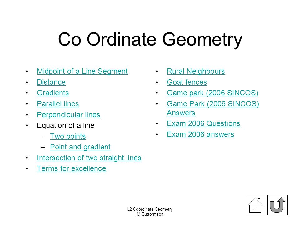 Co Ordinate Geometry Midpoint of a Line Segment Distance Gradients