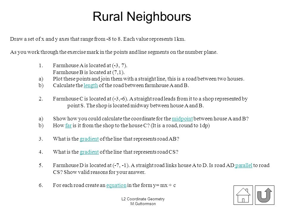 Rural Neighbours Draw a set of x and y axes that range from -8 to 8. Each value represents 1km.