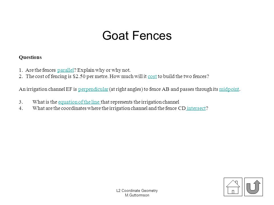 Goat Fences Questions. 1. Are the fences parallel Explain why or why not.