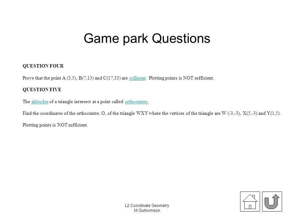 Game park Questions QUESTION FOUR