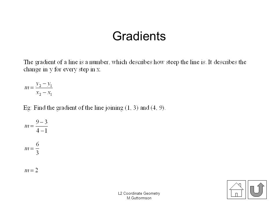 Gradients Exercise 18.03 pages 216 (Theta) L2 Coordinate Geometry