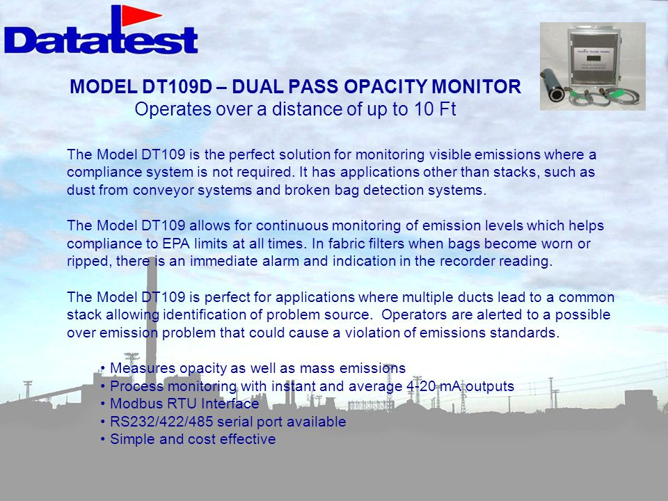 MODEL DT109D – DUAL PASS OPACITY MONITOR Operates over a distance of up to 10 Ft