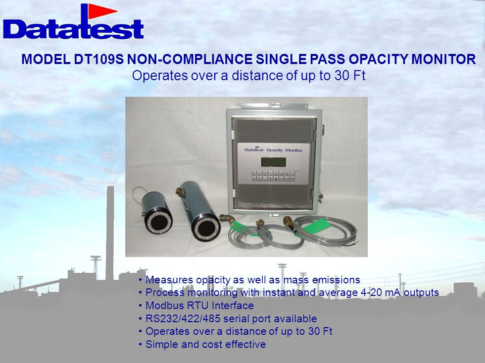 MODEL DT109S NON-COMPLIANCE SINGLE PASS OPACITY MONITOR
