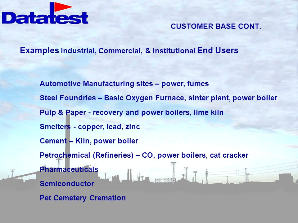 Examples Industrial, Commercial, & Institutional End Users