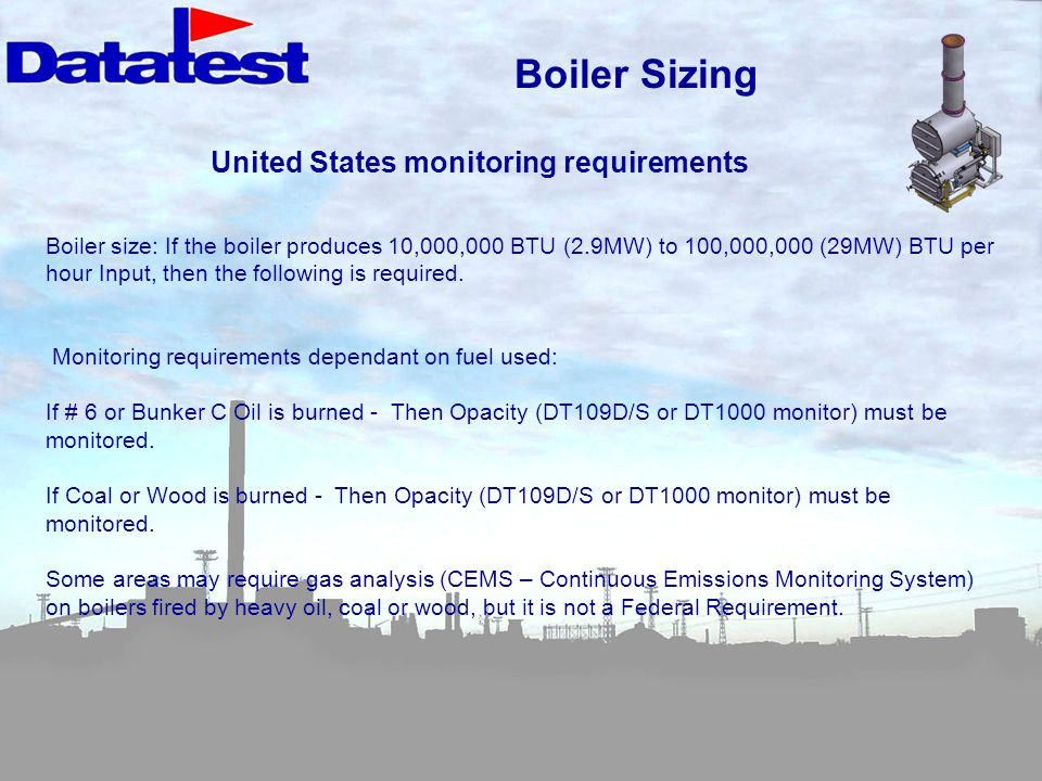 Boiler Sizing United States monitoring requirements