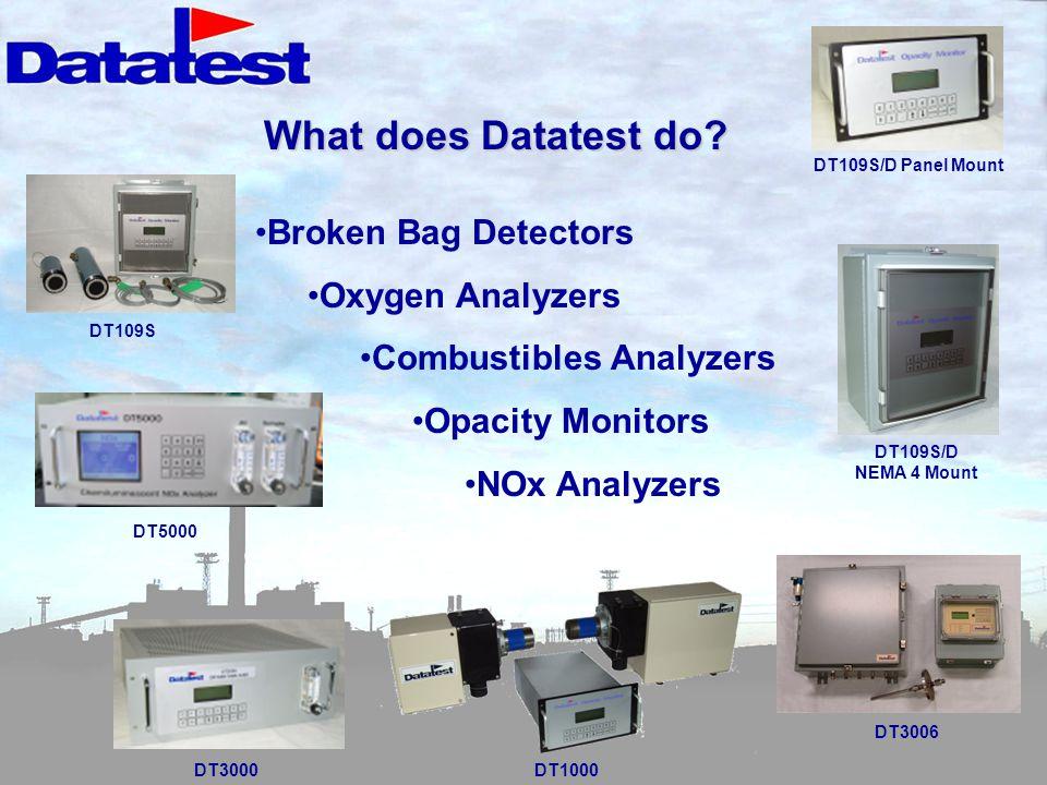 What does Datatest do Broken Bag Detectors Oxygen Analyzers