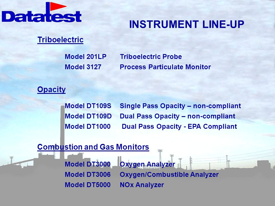 INSTRUMENT LINE-UP Triboelectric Opacity Combustion and Gas Monitors