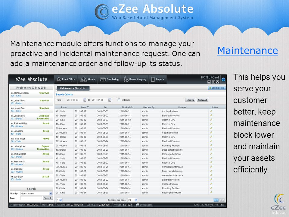 Maintenance module offers functions to manage your proactive and incidental maintenance request. One can add a maintenance order and follow-up its status.