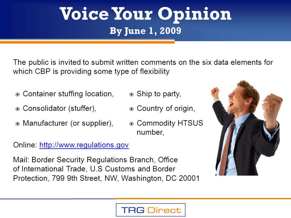 Voice Your Opinion By June 1, 2009