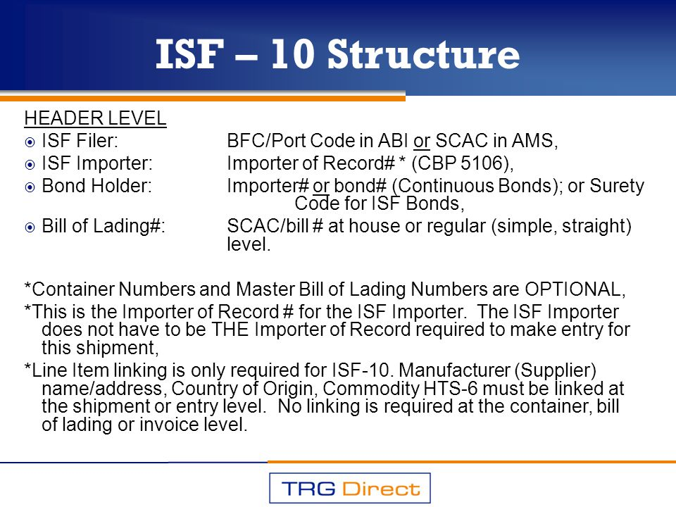 ISF – 10 Structure HEADER LEVEL