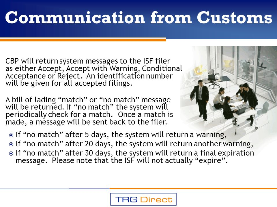 Communication from Customs