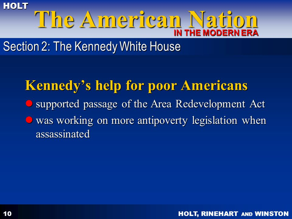 Kennedy's help for poor Americans