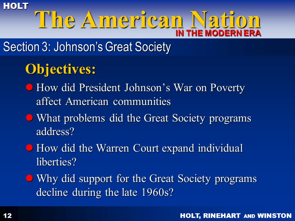 Objectives: Section 3: Johnson's Great Society
