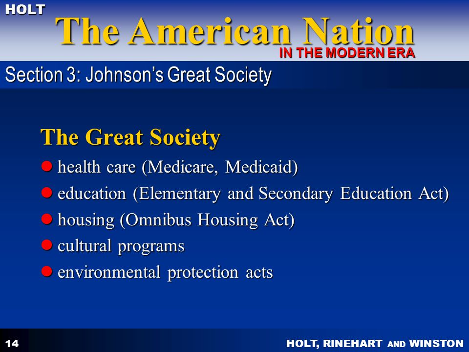 The Great Society Section 3: Johnson's Great Society