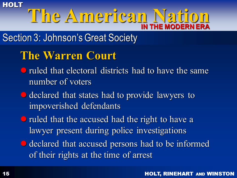 The Warren Court Section 3: Johnson's Great Society