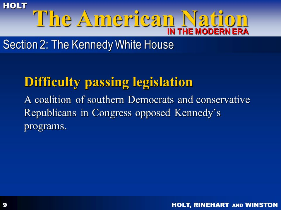 Difficulty passing legislation